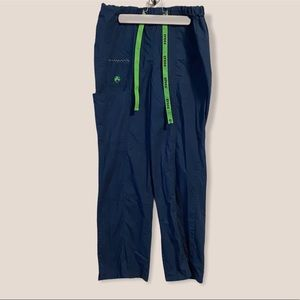 CROCS Navy Blue Scrub Pants with Green Accents